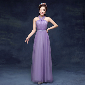 New style bridesmaid slimming sisters skirt dress bridesmaid dress (CL purple) (CL purple)