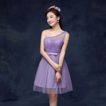 New style bridesmaid slimming sisters skirt dress bridesmaid dress (D models purple)