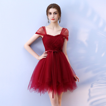 New style double bag puffy dress Dress (Wine red color)