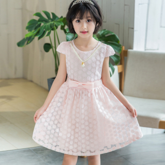 New style lace children's skirt girls dress (Pink)