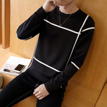 New style men's long-sleeved autumn hoodie base shirt (Black)