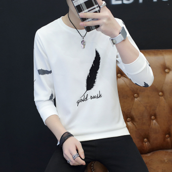 New style men's long-sleeved t-shirt (Feather long white)