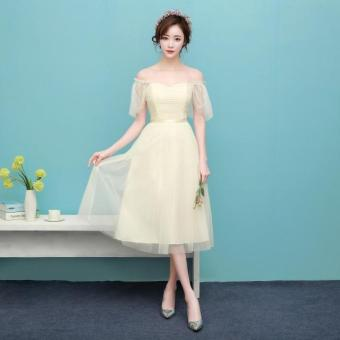 New style mid-length bridesmaid dress (1701 medium-length champagne) (1701 medium-length champagne)