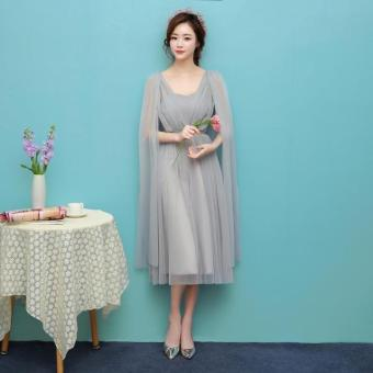 New style mid-length bridesmaid dress (1703 medium-length silver) (1703 medium-length silver)