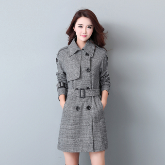 New style plaid woolen coat (Gray)
