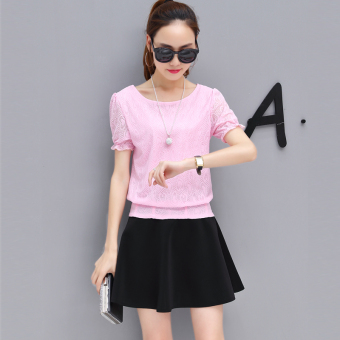 New style short-sleeved chiffon shirt (Pink Top (send necklace))