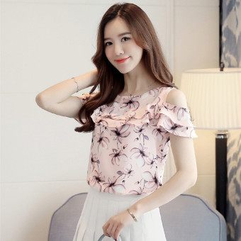 New style short-sleeved female floral chiffon shirt (Pink)