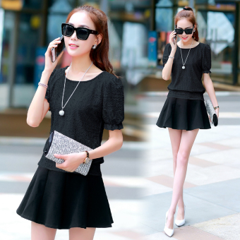 New style short sleeved female lace shirt Korean-style chiffon shirt (Black Top + skirt [suit] To send necklace) (Black Top + skirt [suit] To send necklace)