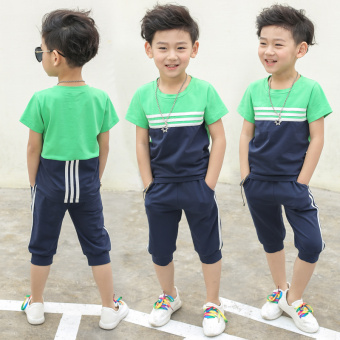 New style short sleeved summer children's shorts (Dark blue color) (Dark blue color)