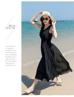 New style Slim fit Slimming effect chiffon dress (Black)
