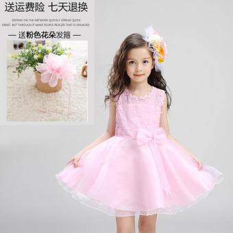 New style small girl's princess Tutu girls dress (507 pink [thin, to send Hair Band]) (507 pink [thin, to send Hair Band])