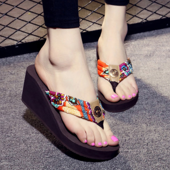 New style summer high-heeled flip-flops (Brown)