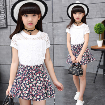 New style summer short sleeved children's skirt (1710 suit)