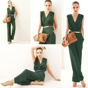 New Stylish Ladies Women Casual V Neck Sleeveless Solid ColorElegant Jumpsuit(Int:S)(OVERSEAS) - intl