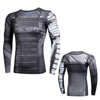 New Superhero Winter Soldier Bucky Superman Anime 3D T ShirtFitness Men Crossfit T-Shirt Long Sleeve Compression Shirt - intl - 4