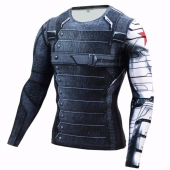 New Superhero Winter Soldier Bucky Superman Anime 3D T ShirtFitness Men Crossfit T-Shirt Long Sleeve Compression Shirt - intl