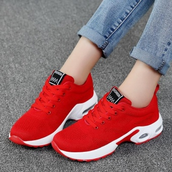 New Trendy Women Sneakers Fly Weave Breathable Women Running Shoes Soft Non-Slip Sole Womens Trainers Outdoor Sports Jogging Shoes(red) - intl