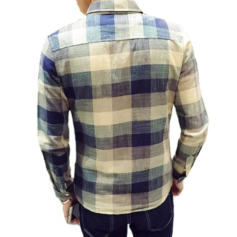 New Winter Men's Cotton Long-sleeved Color Plaid Shirt - Intl - 3