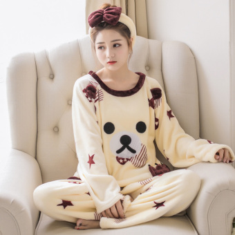 New Winter thick coral velvet pajamas (Five-star bear)