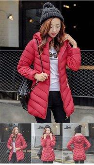 New Woman's Winter Jacket Down Cotton Jacket Slim Parkas Ladies Coat(Red) (Intl) - 4