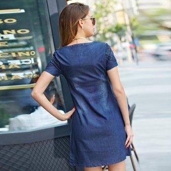 New Women Denim Dress Short-sleeved V Collar Loose Slim Was Thin Dress - intl - 2