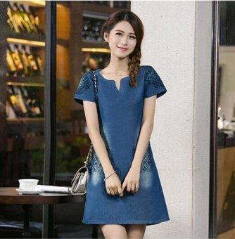 New Women Denim Dress Short-sleeved V Collar Loose Slim Was Thin Dress - intl - 4