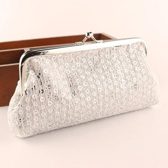 New Women Lovely Style Lady Wallet Hasp Sequins Purse Clutch BagWhite - intl