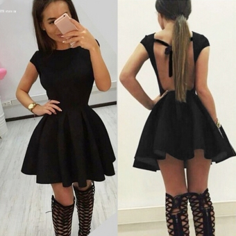 New Women Sexy O-neck Pleated Mini Dress (Black)