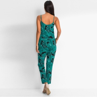 New Women V Neck Sleeveless Floral Print Ladies Summer Beach Casual Jumpsuit - intl - 3