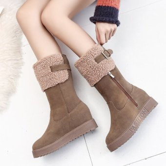 New Women Western Style Ankle Boots Round Toe Winter Warm Women Boots Platform Snow Boots (Khaki) - intl