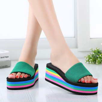 New Women's Casual Flip Flops Beach Sandals Rainbow High Platform Wedge Slippers - 2
