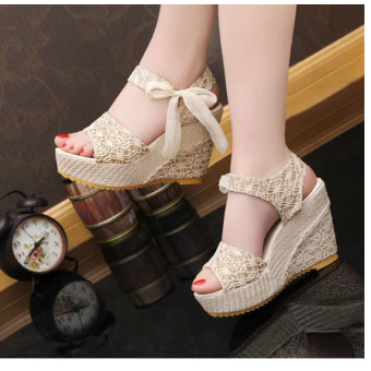 New Women's Heel Sandals Slope Heavy-bottomed Shoes Shallow Peep-toe Platform Wedges Shoes Price Philippines