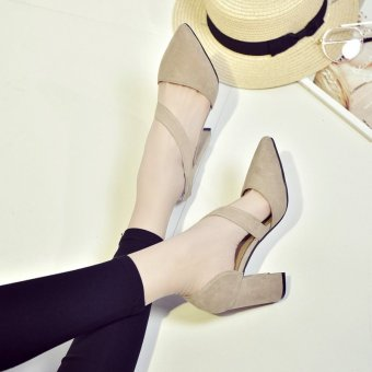 New women's fashion joker high-heeled shoes (Beige) - intl