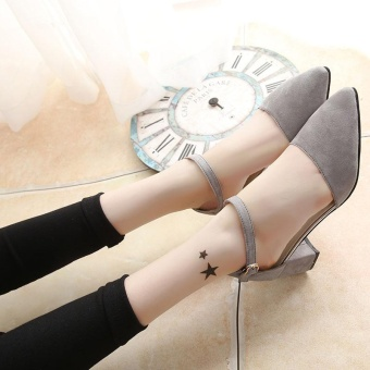 New Women's Summer Sandals High Heels Ankle Straps Velvet SolidCasual Princess Lady's Shoes Pointed Toe Color Grey - intl - 5