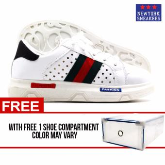 New York Sneakers Giri Rubber Shoes(WHITE/BLACK) with FREE shoecompartment Price Philippines