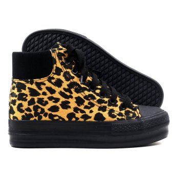 New York Sneakers Yrra High Cut Leopard Shoes (Black/Brown) - 3