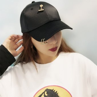 Newest Cool Punk Rock Caps Hats Unisex Hip-Hop Adjustable BaseballCap Street Dance Show Hat Fashion HAT with Rings & Pins-Black -intl Price Philippines