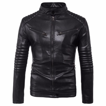 Newest Men Motorcycle PU Leather Jackets Solid Casual Outerwear - intl