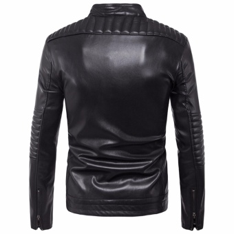 Newest Men Motorcycle PU Leather Jackets Solid Casual Outerwear - intl - 3