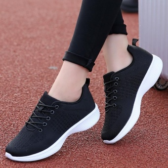 Newest Running Shoes For Outdoor Comfortable Women Sneakers Men Breathable Sport Shoes (black) - intl