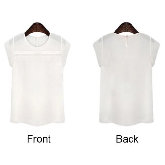 Newest Women Plus Size Chiffon Short Sleeve T-shirt White