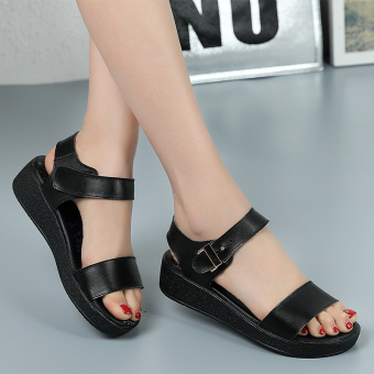 News2016 New style summer student flat semi-high heeled women's sandals (Black)
