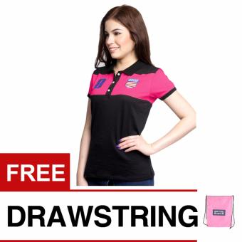 Newyork Army Infinity 8 Black Ladies Polo Shirt - Fuchsia Pink withfree Newyork Army Drawstring Backpack