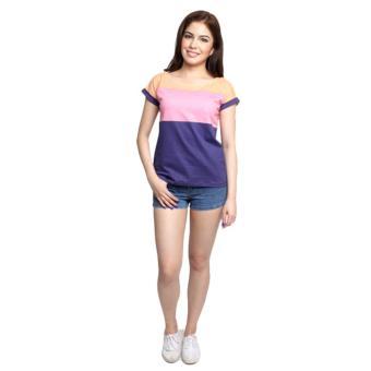 Newyork Army Multicolor Blue, Pink & Orange Mega Sleeves RoundNeck T-Shirt For Ladies - 4