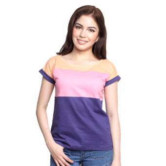 Newyork Army Multicolor Blue, Pink & Orange Mega Sleeves RoundNeck T-Shirt For Ladies