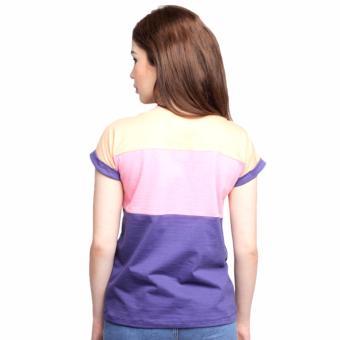 Newyork Army Multicolor Blue, Pink & Orange Mega Sleeves RoundNeck T-Shirt For Ladies - 3