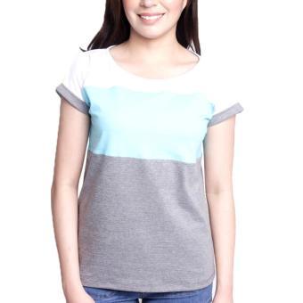 Newyork Army Multicolor Gray, Aqua & White Mega Sleeves RoundNeck T-Shirt For Ladies - 5
