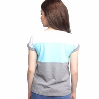 Newyork Army Multicolor Gray, Aqua & White Mega Sleeves RoundNeck T-Shirt For Ladies - 2
