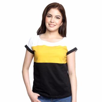 Newyork Army Multicolor Yellow & Black Mega Sleeves Round NeckT-Shirt For Ladies