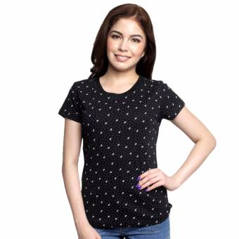 Newyork Army 'Ribbon Bow' Print Round Neck Ladies T-shirt, Black